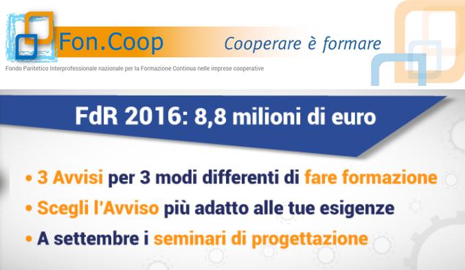 Fon.Coop, fondo di rotazione 2016: pubblicati tre nuovi Avvisi