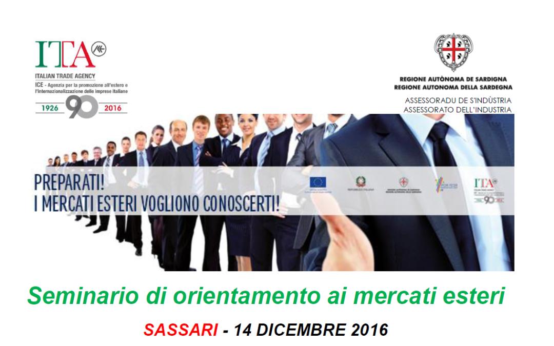Internazionalizzazione: il 14 dicembre a Sassari un seminario gratuito di orientamento ai mercati esteri