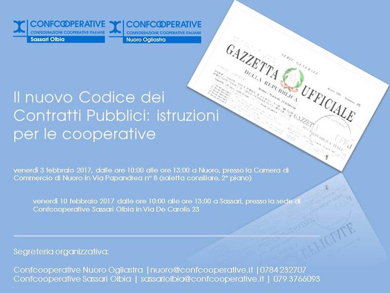 """""""Il nuovo Codice dei Contratti Pubblici: istruzioni per le cooperative"""", seminari a Nuoro e Sassari"""