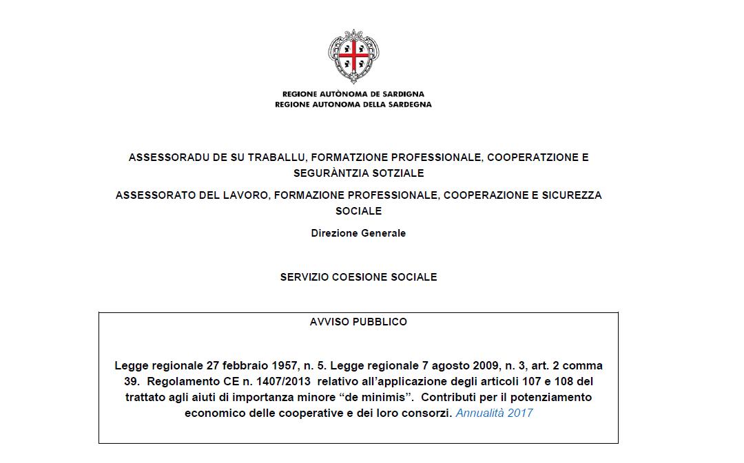RAS – Prorogati i termini per la presentazione delle domande di contributo per il potenziamento economico delle cooperative – anno 2017