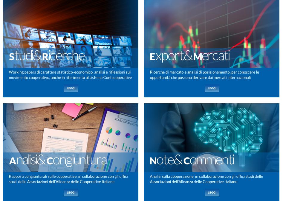 Confcooperative rinnova il portale online attraverso quattro nuove sezioni tematiche