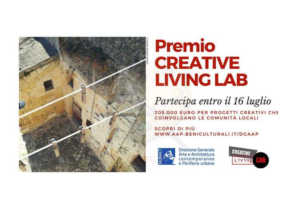 """Bando di concorso """"Premio CREATIVE LIVING LAB"""" 2018 per la realizzazione di progetti innovativi in ambito culturale e creativo."""