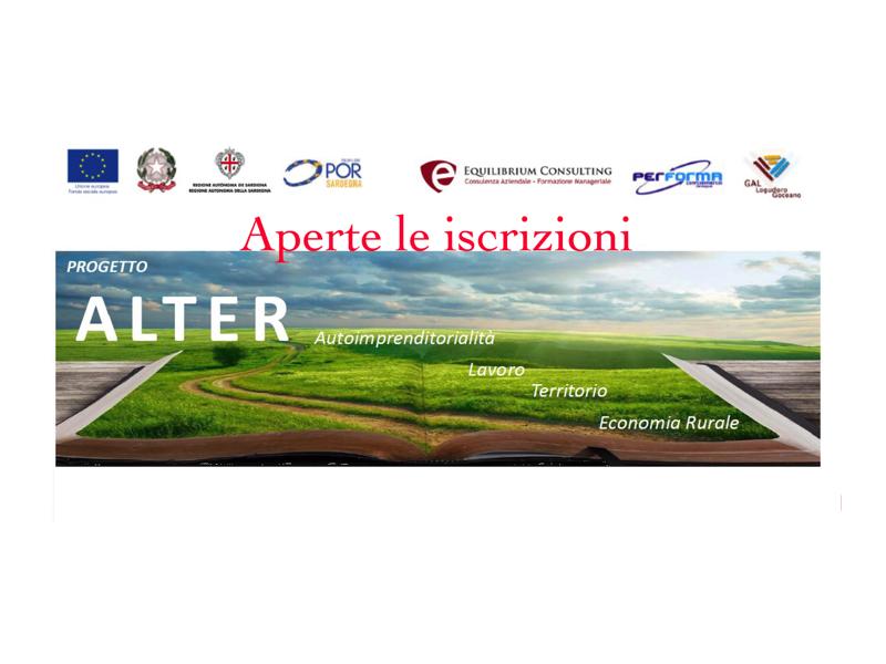 """Aperte le iscrizioni per partecipare al Corso """"Imprendere"""" all'interno del progetto A.L.T.E.R – Autoimprenditorialità Lavoro Territorio Economia Rurale – Sedi: Thiesi, Ozieri, Bono."""