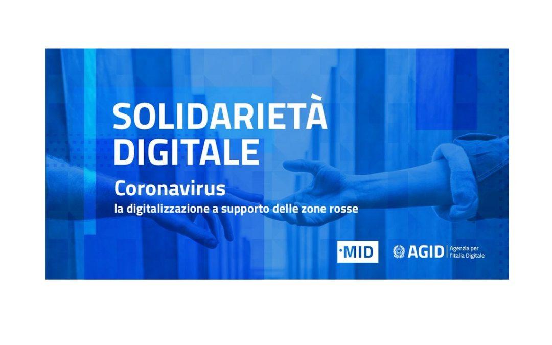 Coronavirus – La digitalizzazione a supporto di imprese e cittadini con la campagna #SolidarietàDigitale