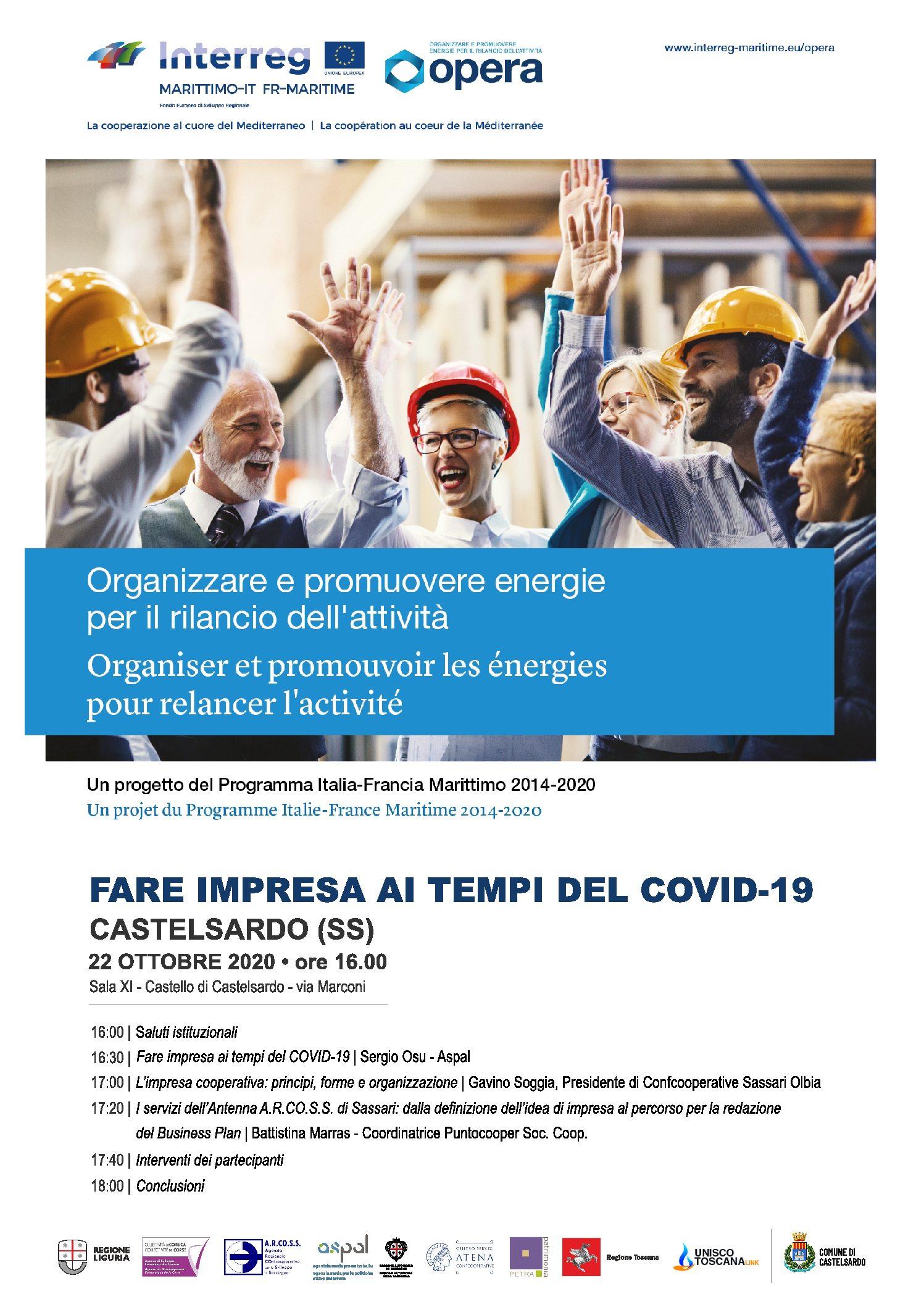 """Confcooperative Sassari Olbia e Aspal Sardegna promuovono l'incontro """"FARE IMPRESA AI TEMPI DEL COVID-19"""". Castelsardo, il 22 ottobre 2020"""